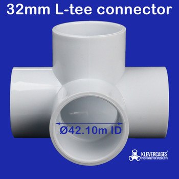 4 way l tee PVC connector from Klever Cages fit PVC standard PVC pipe