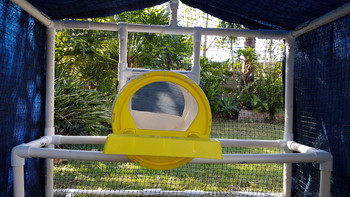 Chicken perch and cover in a PVC chicken coop