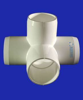 PVC L-tee 40mm connector. This connector is perfect for your next project. Fit standard Australian PVC plumbing pressure pipe.