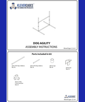 Free Plan for dog agility kit from Klever Cages. Kit included PVC pipe, jump cup, l-tee connector and cap