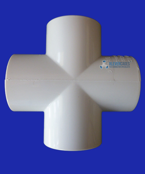 20mm PVC cross connector / fitting from Klever Cages used for bracing projects, garden enclosures, puppy play gyms and more. Fits 20mm plumbing pressure pipe