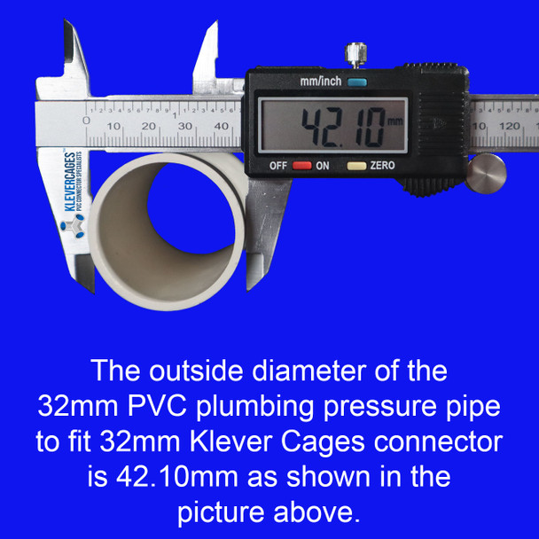 PVC pipe required to fit the 4 way PVC cross 32mm from Klever Cages needs to have an outside diamtre of 42.10mm