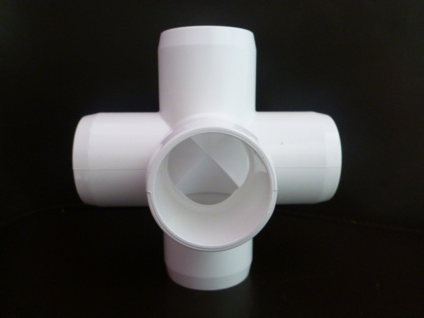 50mm 5 Way Cross PVC Connector suitable for frames and cages around the home and garden. Fits PVC plumbing pressure pipe