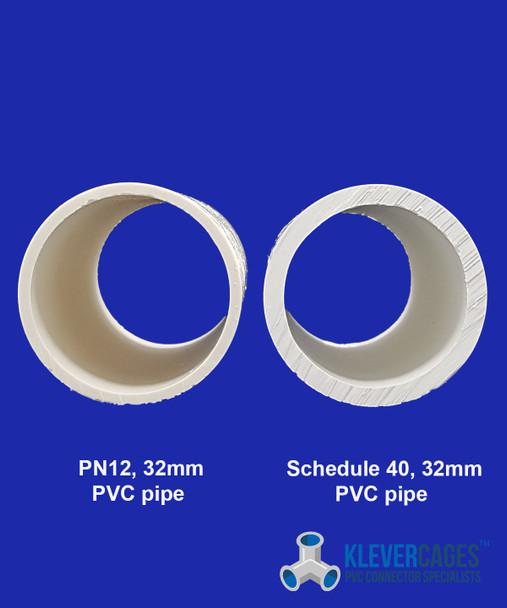 PN12 32mm PVC plumbing pressure pipe next to schedule 40 PVC pipe