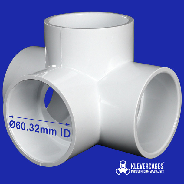 50mm PVC l-tee fitting connector from Klever  Cages fits 50mm plumbing pressure pipe