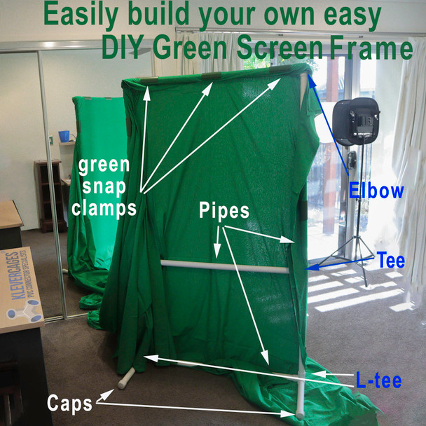 DIY green screen frame built with tees, elbows, l tees and caps 25mm and PVC pipe from Klever Cages for photography