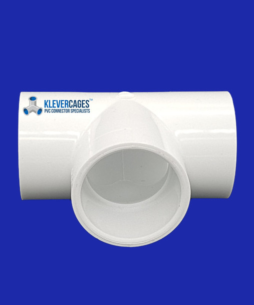 50mm PVC Tee connector to fit PVC plumbing pressure pipe from Klever Cages