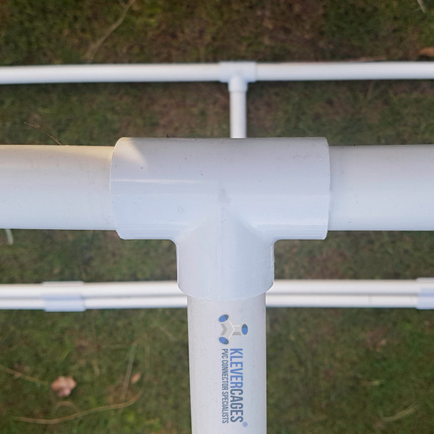 PVC tee from Klever cages in use on a garden frame connected to 20mm PVC plumbing pressure pipe