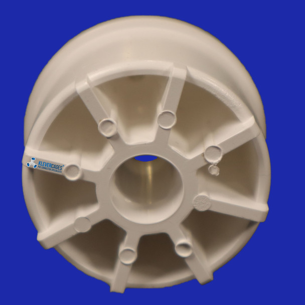 Underside of a PVC castor wheel insert 32mm for your next PVC project. This inserts into a connector then to a piece of PVC pipe