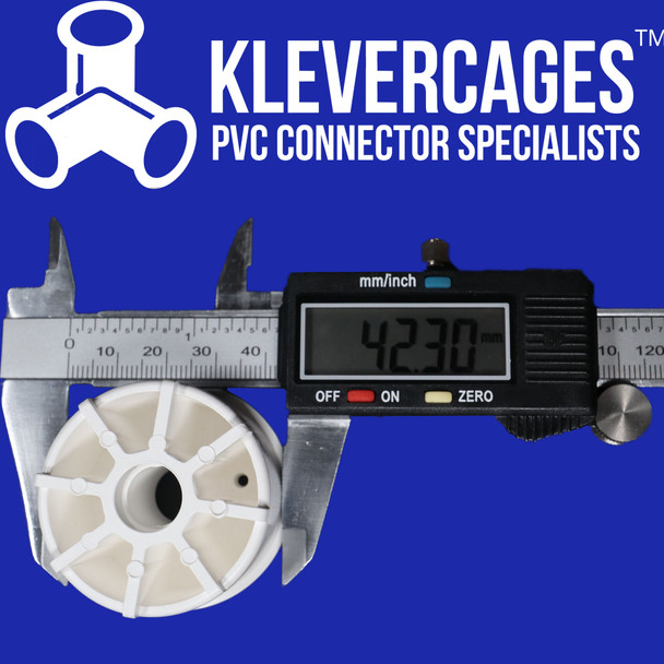 A pair of digital calipers showing the outside diametre of a PVC castor wheel insert connector from Klever Cages