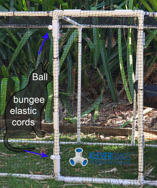 Ball bungee cord example from Klever Cages on a cat enclosure