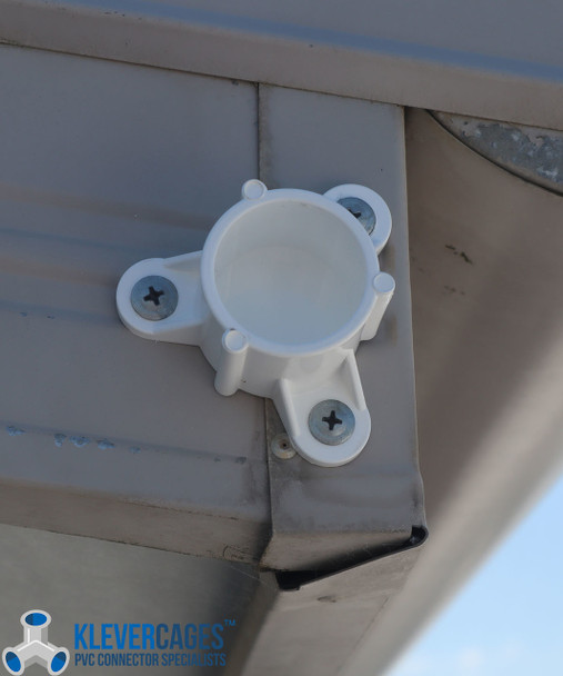 25mm screw tab cap in use. Screws inserted in the tabs to secure your PVC project onto a wall or in this case the roof. Perfect for antenna and wind gauge mounting.