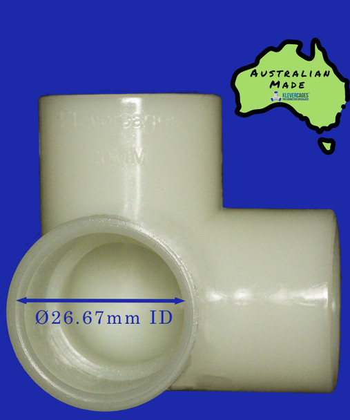 20mm Glow in the dark 3 way elbow connector that fits 20mm PVC plumbing pressure pipe from Klever Cages