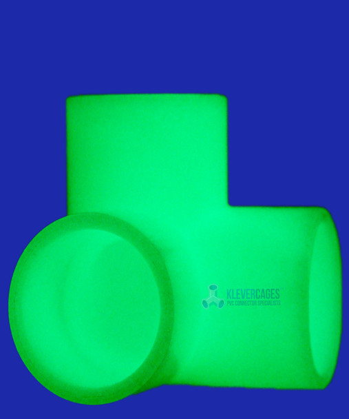 20mm glow in the dark 3 way elbow glowing not using glow in the dark paint from Klever Cages
