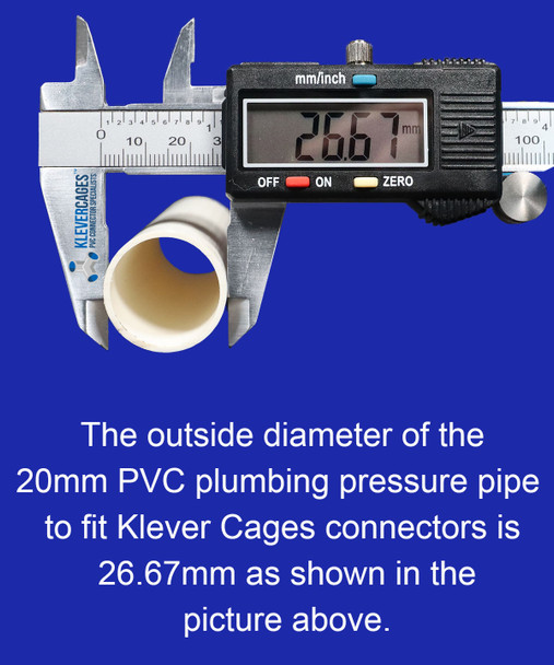 Outside diametre of PVC plumbing pressure pipe needed  to fit glow in the dark spiral wrap from Klever Cages is 26.67mm