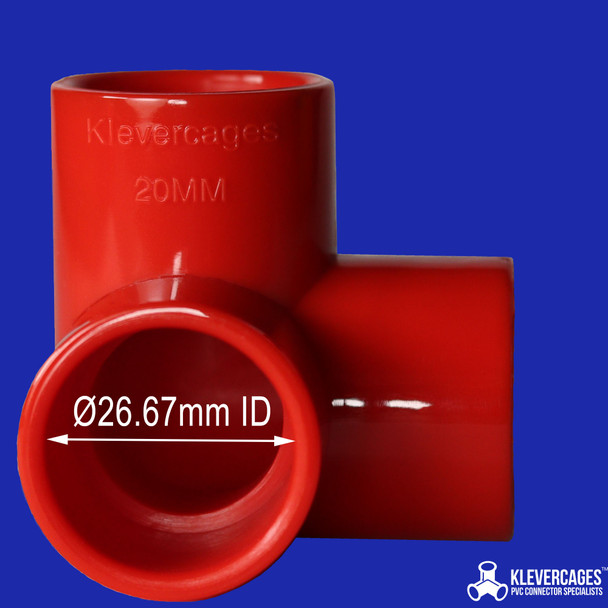 Red connector to fit PVC pipe 20mm with an outside diametre of 26.67mm from Klever Cages Australia.  Use this 3 way connector to make your next PVC project including a puppy play gym, aquariums, turtle docking platform or a kids indoor cubby