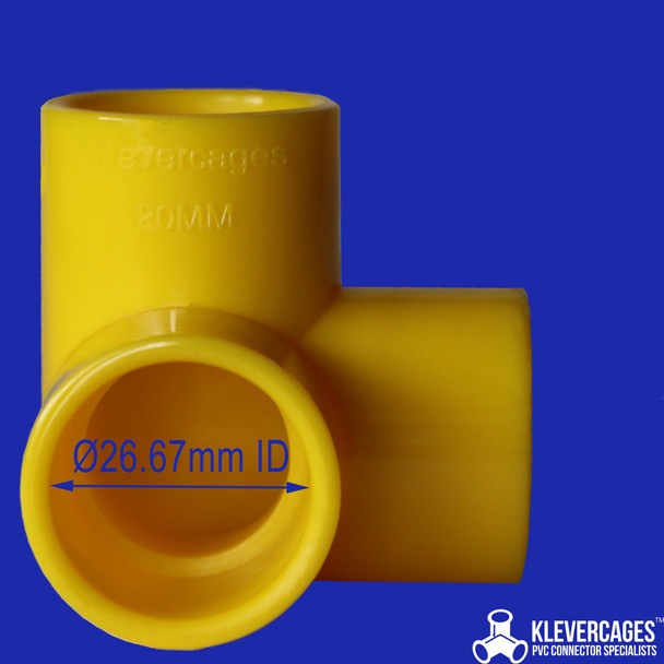 Yellow 3 way connector for PVC pipe. This fitting is great for your next PVC project , kids indoor cubby, aquariums, turtle docking platform cat play gym or anything else you can think of