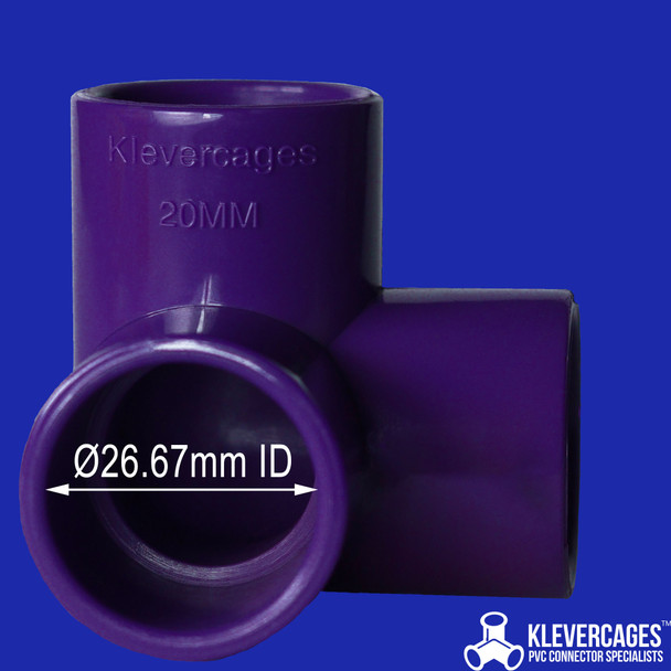 Purple connector for PVC pipe. 3 way 20mm connector made from nylon with stand the toughest conditions. Great for a aquariums, turtle docking platform or puppy play cube as they are made from Nylon and very strong