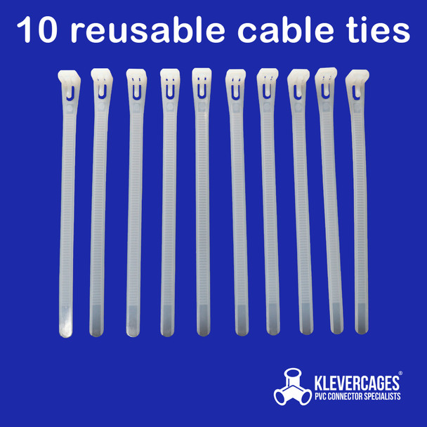 10 reusable cable zip ties off white plastic 150mm or 200mm long from Klever Cages