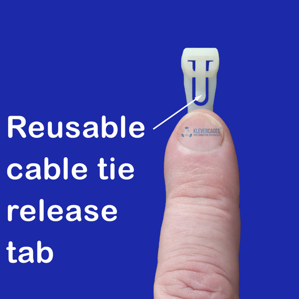 Tab to press when releasing the reusable cable tie from Klever tie