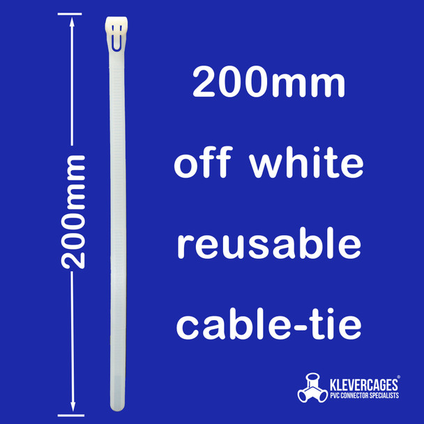 200mm off white reusable cable zip tie from Klever Cages