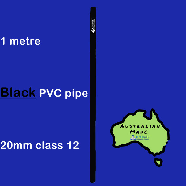 Black class 12 20mm PVC pipe with an outside diametre of 26.67mm 1 metre length suitable for building garden frames, cat enclosures and more