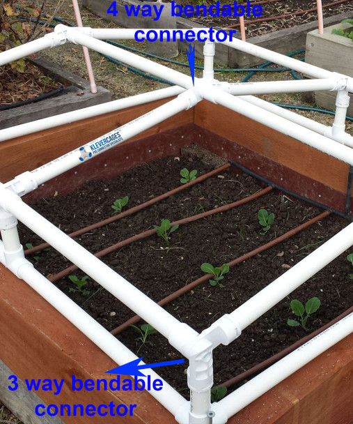 4 way bendable connector in use on a mini greenhouse