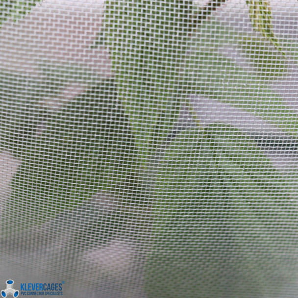 Raspberry bush leaves behind a white fine mesh netting from Klever Cages protecting the growing plant from bugs and birds.