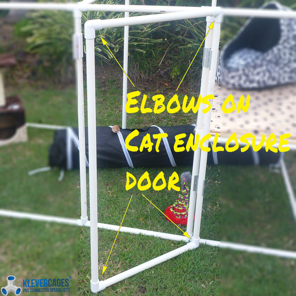 An example of a PVC elbow 20mm being used on a Cat enclosure kit from Klever Cages. Elbow fits standard PVC plumbing pressure pipe