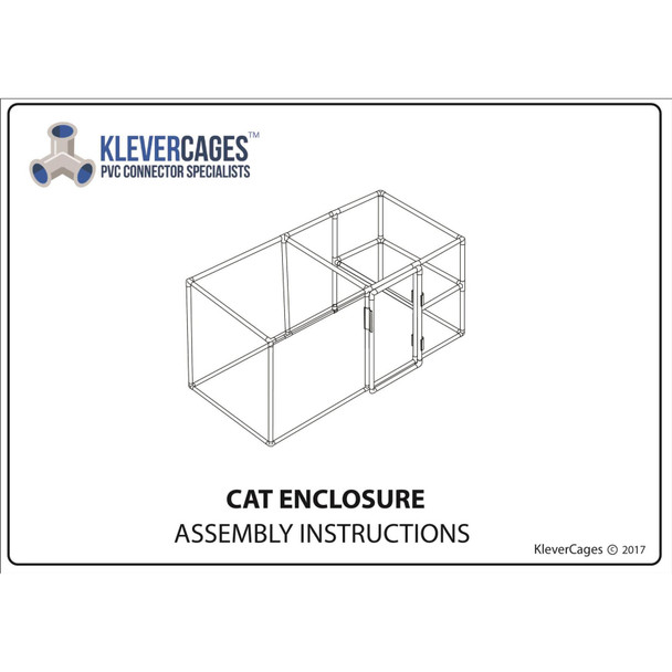 Outdoor cat enclosure or indoor cat enclosure free PVC plan built with PVC pipe Klever connectors and heavy duty netting from Klever Cages