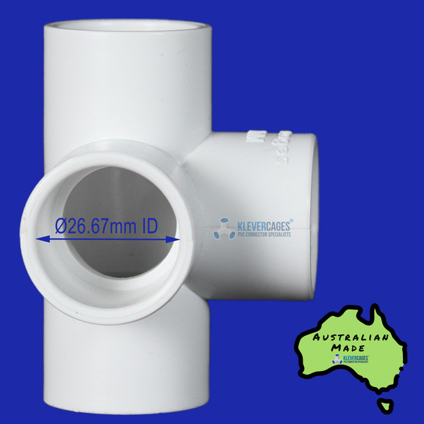 L-tee PVC connector from Klever Cages to fit 20mm PVC plumbing pressure pipe. Great for supporting your next PVC project.