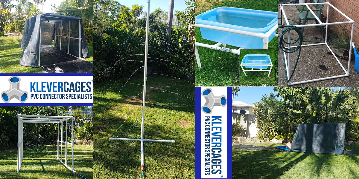 Customer photos of their PVC projects including garden protection, cat enclosure and dog agility equipment