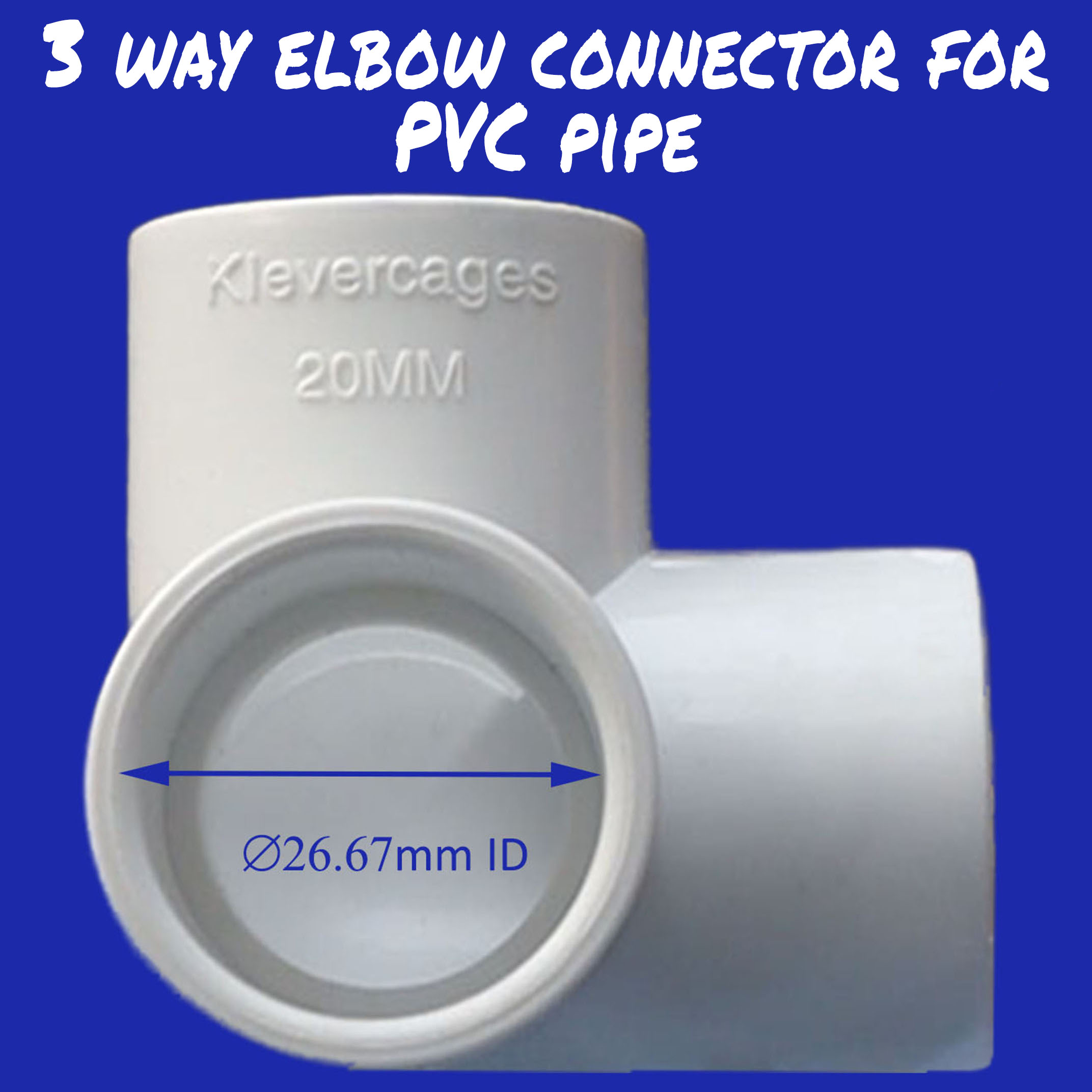 20mm 3 way connector to fit PVC pipe with an outside diametre of 26.67mm from Klever Cages. Use this for your next PVC project