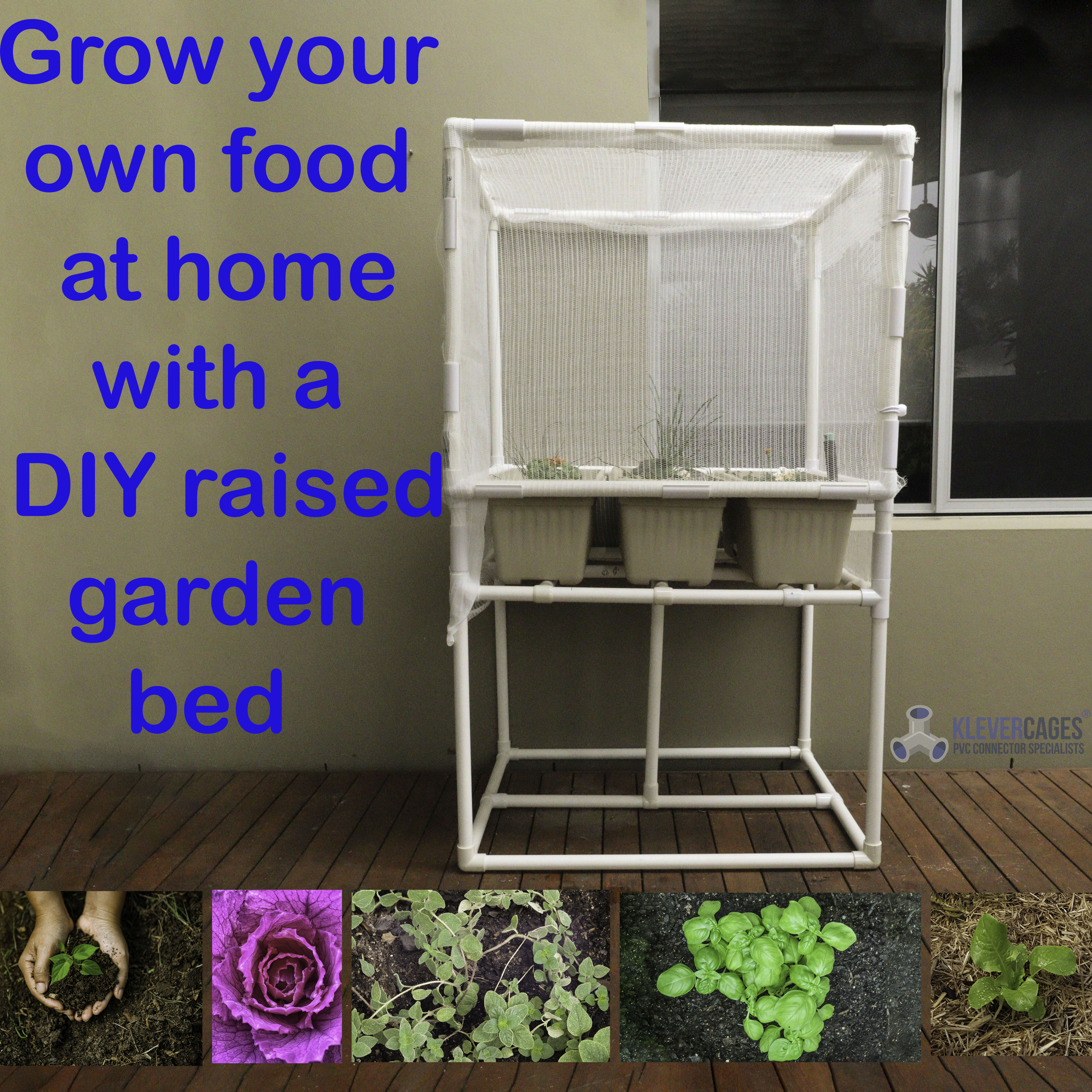 DIY raised garden bed frame built with a PVC pipe and Klever Connector frame covered with bird exclusion netting secured with snapclamps
