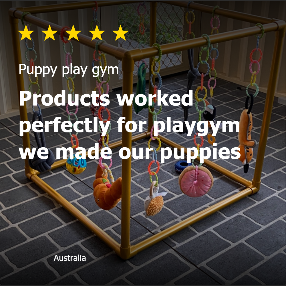 5 Star rating review of PVC pipe and connectors from Klever Cages. Puppy play gym picture under the review