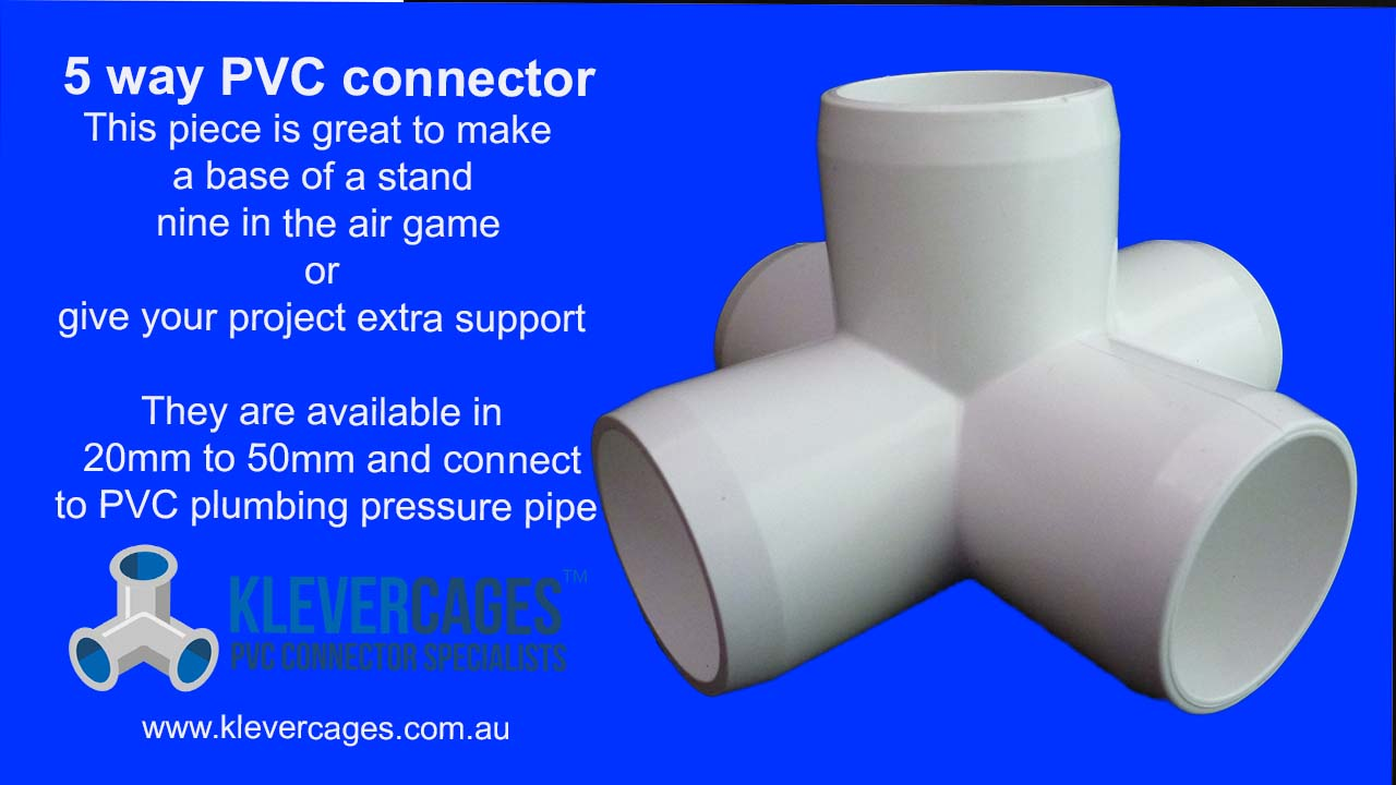 5 way PVC connector fitting fits PVC pipe for building PVC projects