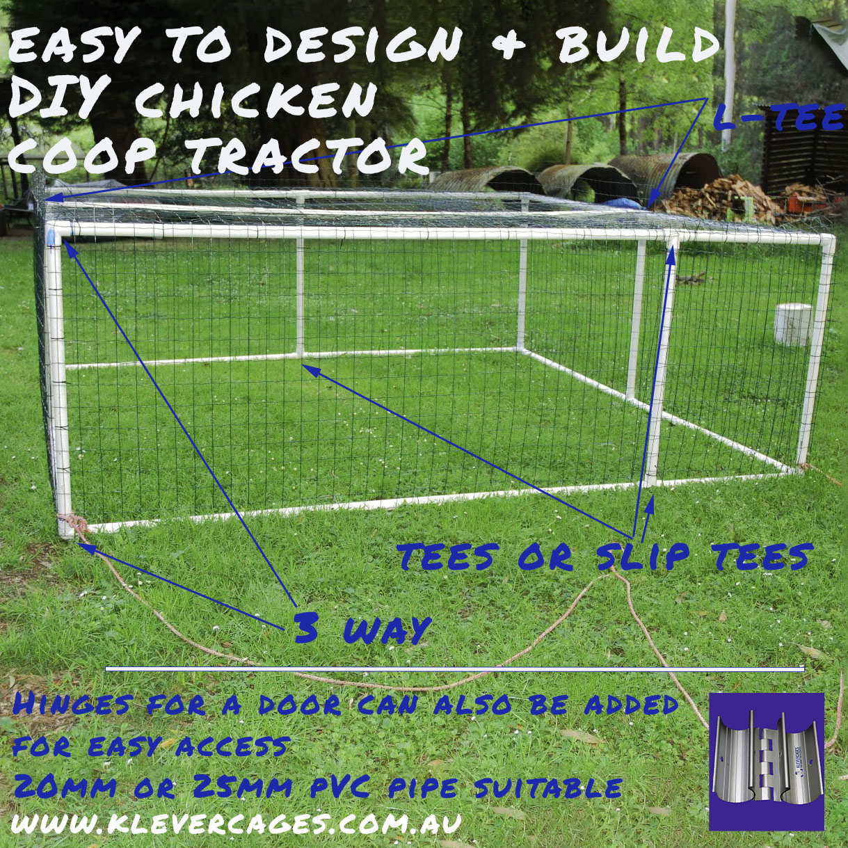 Easy to build mobile chciken coop built with PVC connectors and pipe for your backyard sitting on grass and a picture of a door hinge that can be added for easy access