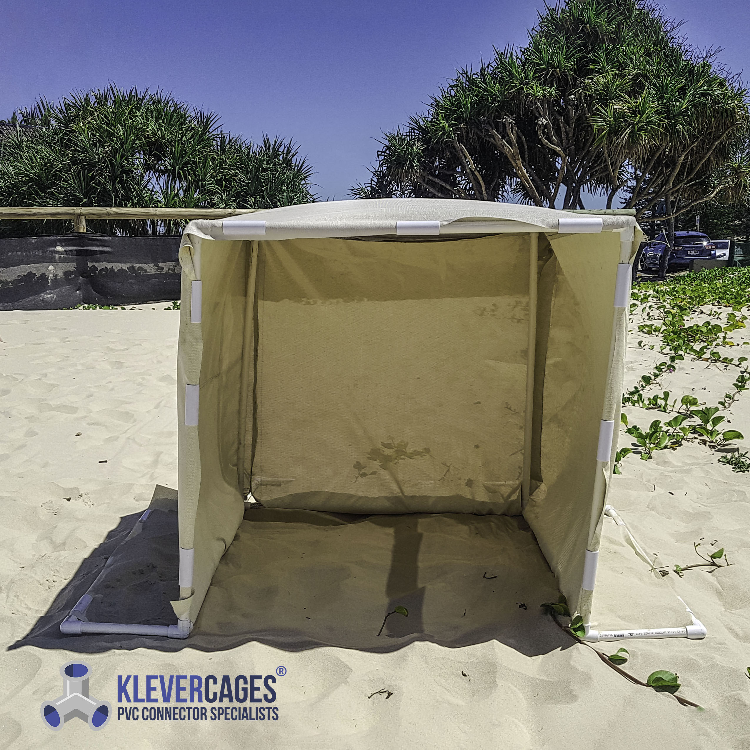 beach shade collapsible and portable built with PVC pipe and connector fittings from Klever Cages