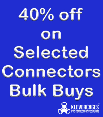 Buy bulk PVC connectors 3ways and l-tees from  Klever Cages Australia