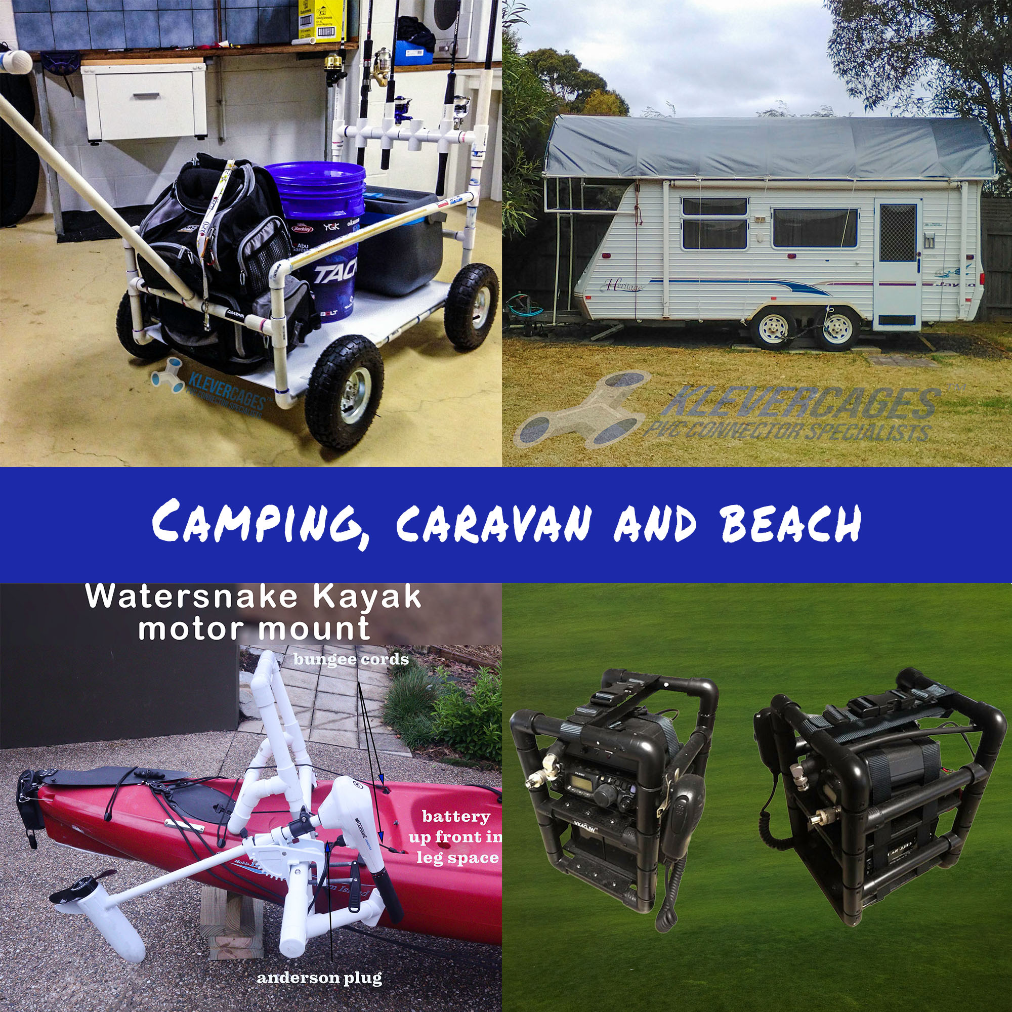 Photos of camping, caravaning and beach PVC projects from Klever Cages customers