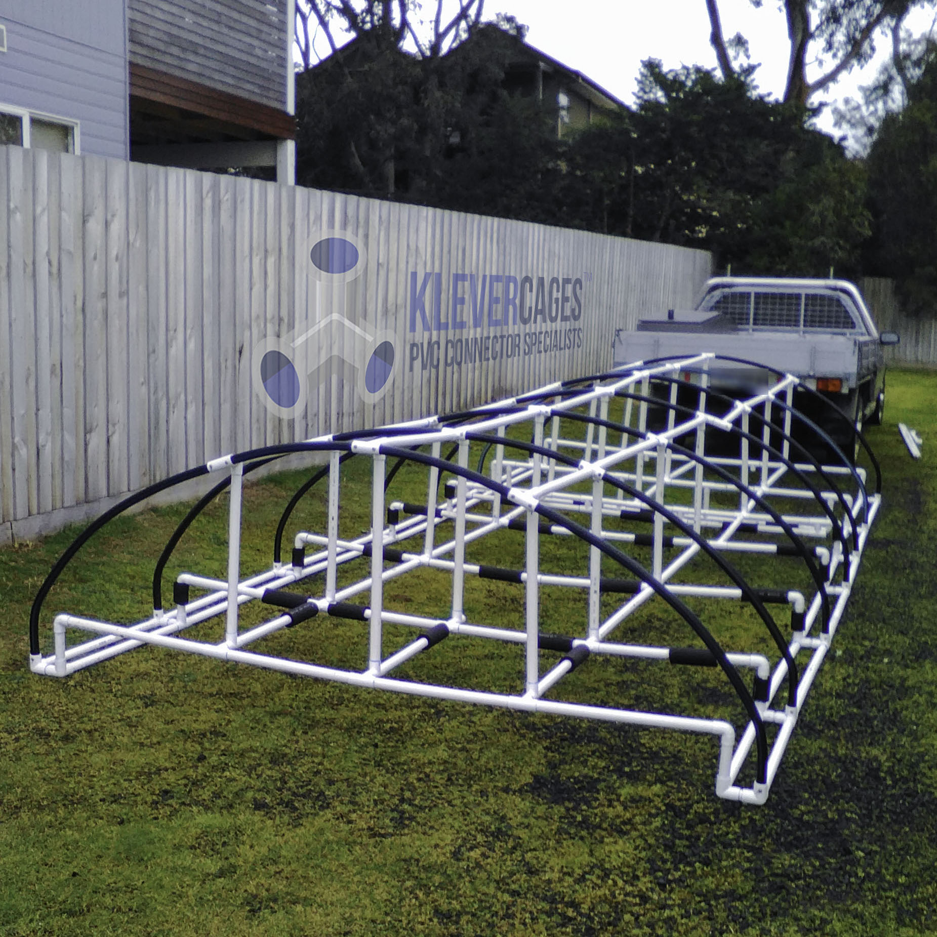 caravan cover protecting a caravan from the elements built with connector fittings from Klever Cages