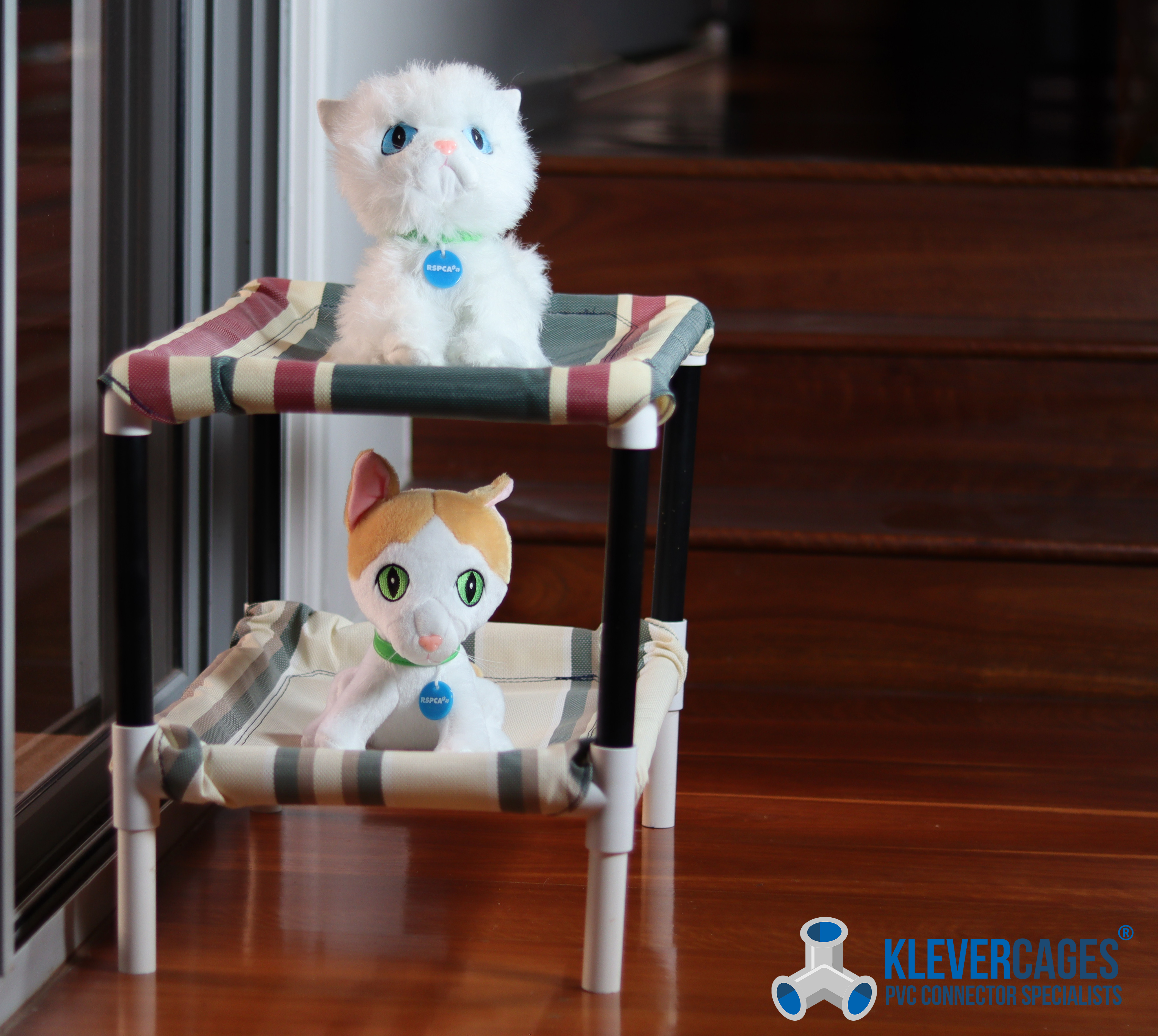 Cat bunk bed built with 3 way elbows, 4 way ltees, black PVC pipe 20mm and white PVC pressure pipe  from Klever Cages