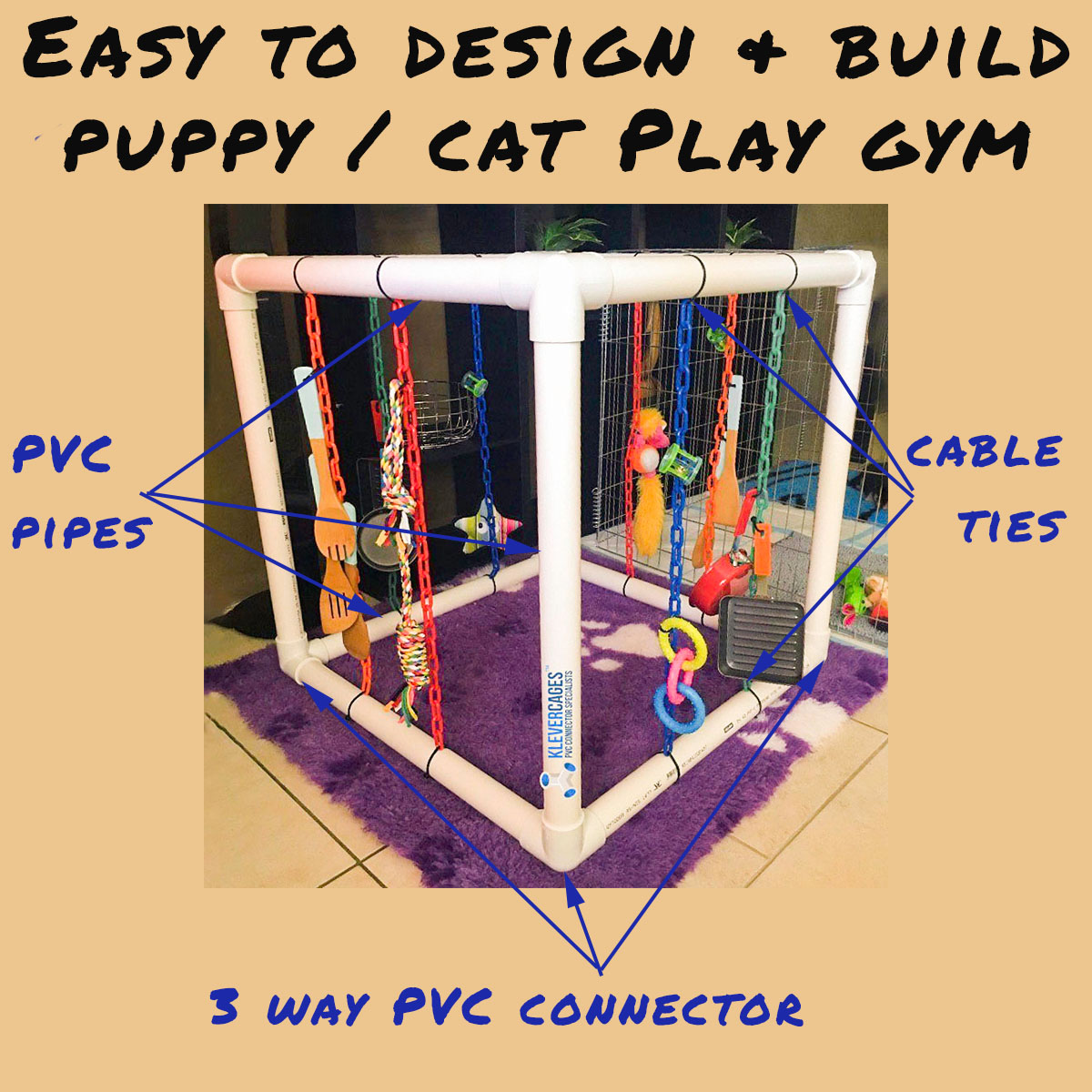 White puppy play gym built with white PVC connectors and pipe from Klever Cages Australia. Dog toys hanging with plastic chains and attached with cable ties