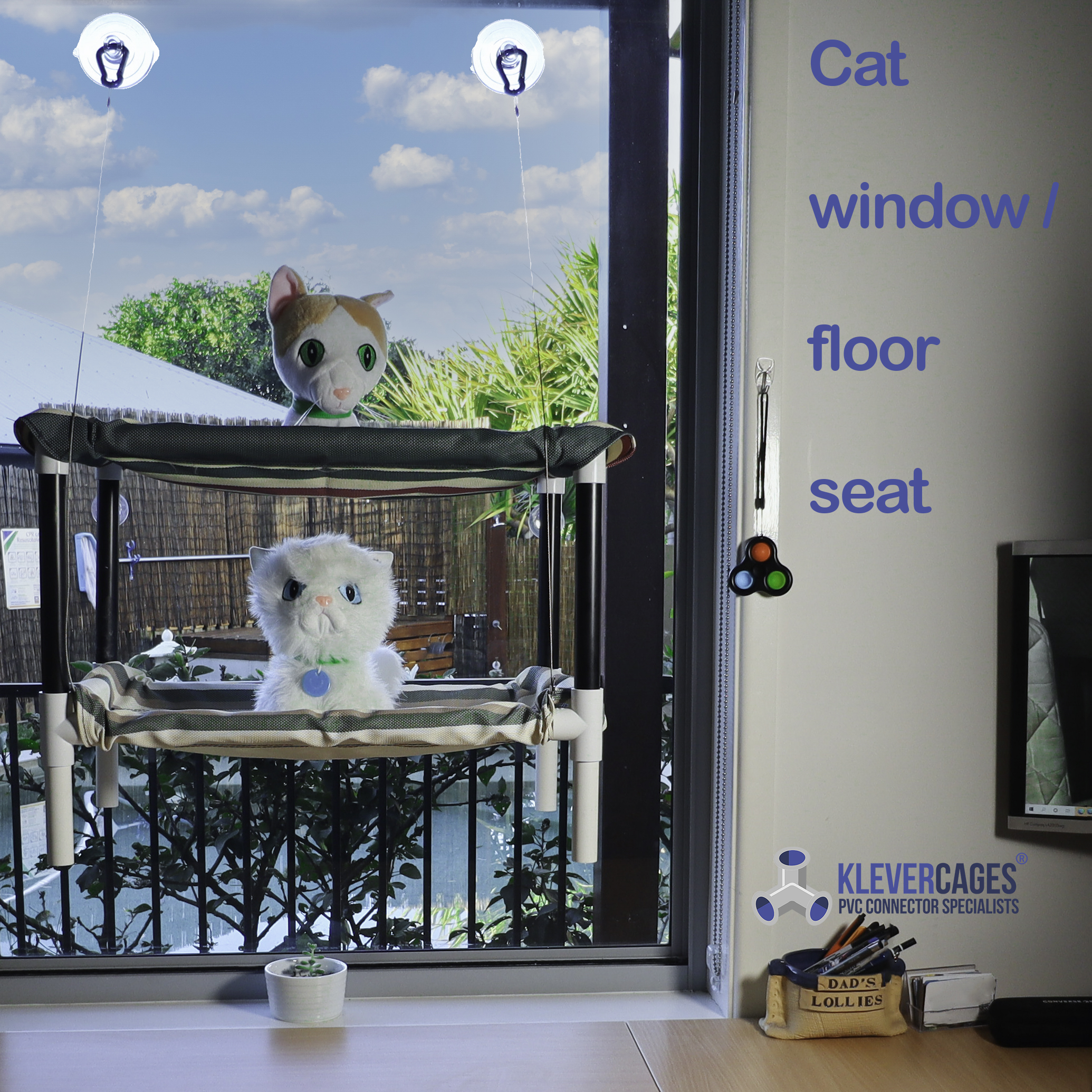Cat window hammock seat built with PVC pipes and connectors from Klever Cages