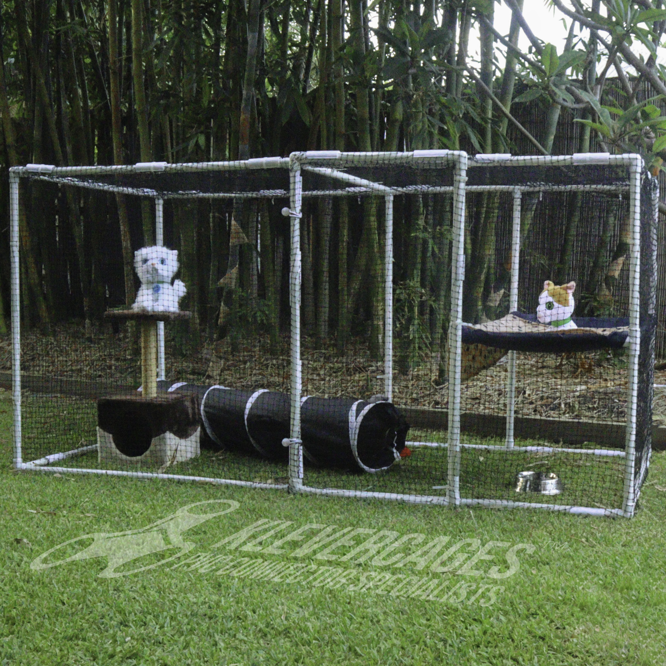 Catio Outdoor cat enclosure kit suitable for 2 cats available from Klever Cages. Frame built from PVC pipe and Klever Connectors with cat netting attached with snap clamps
