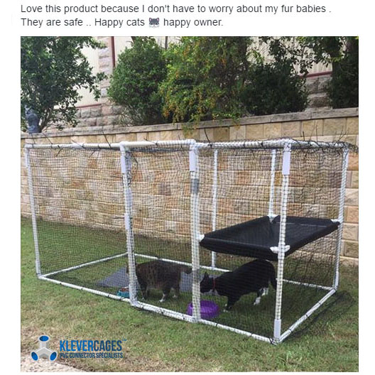 Easy to build diy cat enclosure kit made with PVC connectors and pipe from Klever Cages. Comes with easy to follow free plans and everything included to build the enclosure from Klever Cages including netting as in the picture. Safe, durable and cost effective