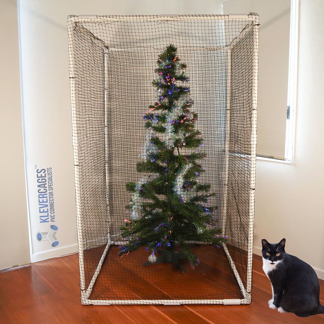 Protect your tree this Christmas ( from your cat) with a frame built from PVC connectors and pipe from Klever Cages. Use 3 way connectors, PVC pipe and netting around the cage attached with cable ties or snap clamps