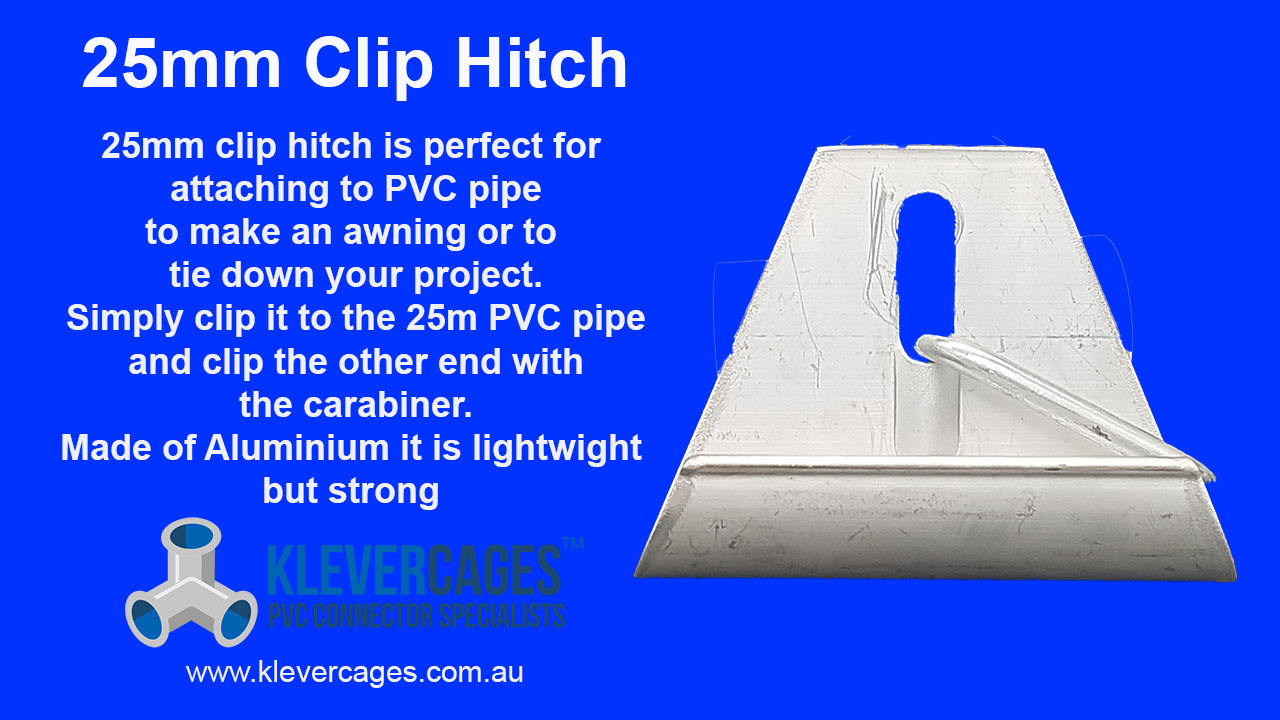 Aluminum clip hitch with a carabiner to clip onto PVC pipe to secure your PVC project to the ground.