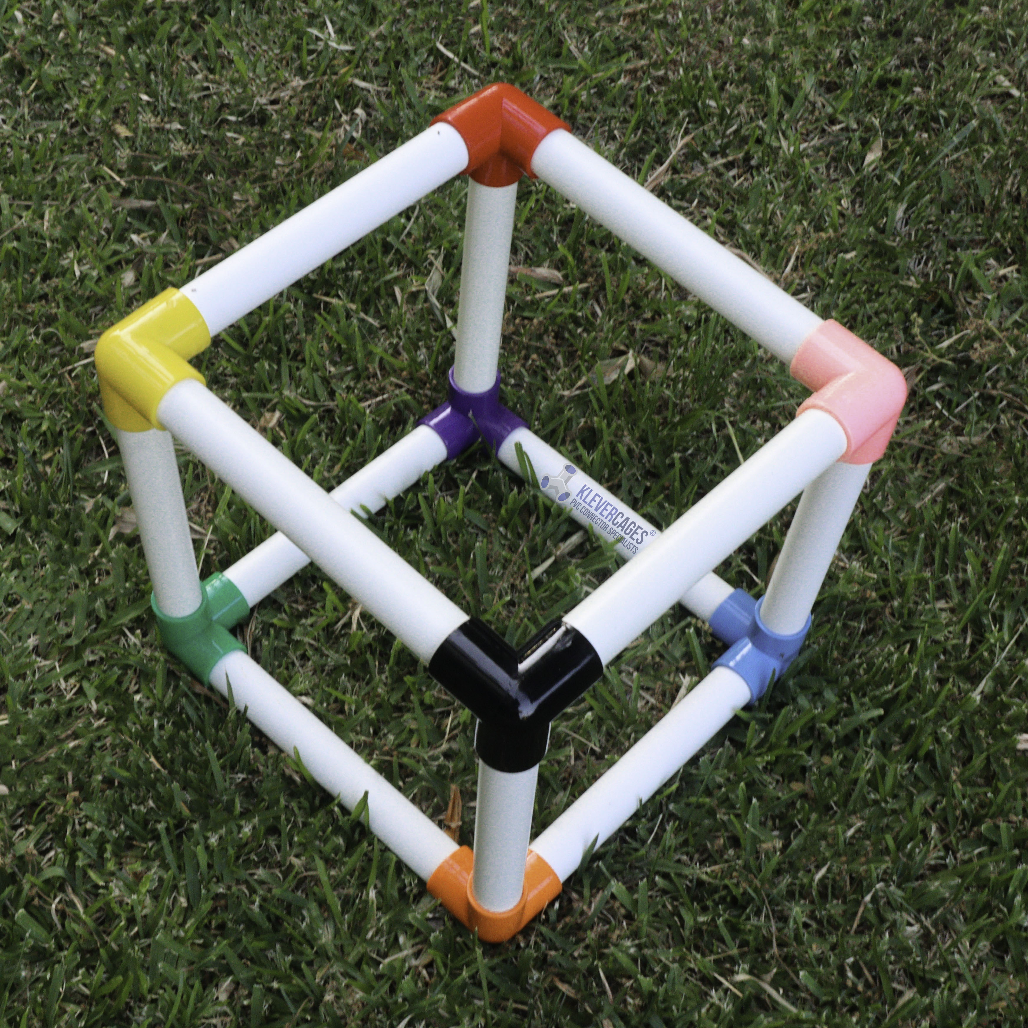 20mm PVC pipe cube with Vinyl connectors in blue, green, black, orange, yellow, purple, coral and red