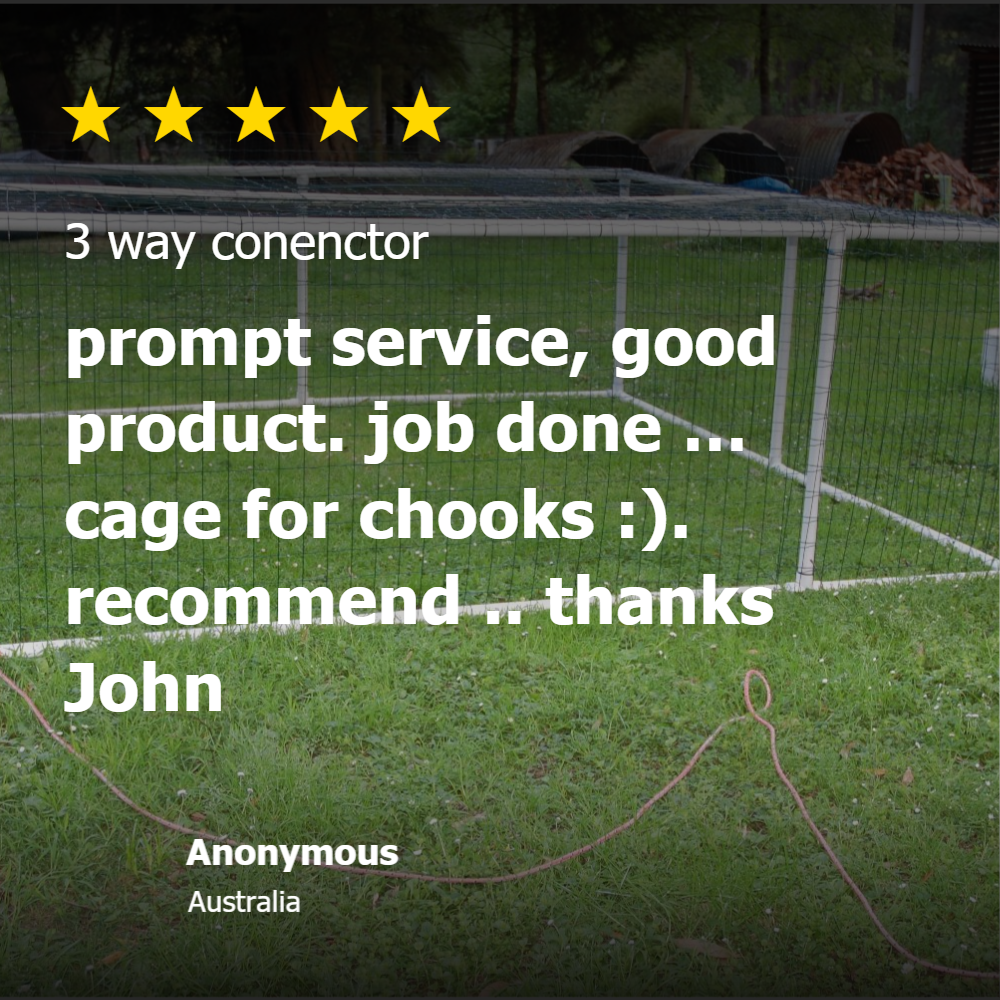 5 star rating of chicken coop built from PVC connectors and pipe from Klever Cages.